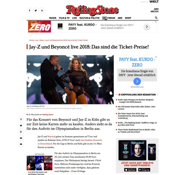 iGroove Services Musikpromotion Rolling Stone Ad